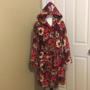 VERA BRADLEY Fleece Robe ROSEWOOD S/M EUC
